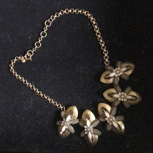 J. Crew brush gold grey jeweled necklace